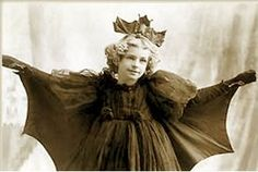 Vintage bat costume for Halloween, Check out her headpiece!