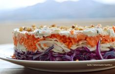 Λαχανοσαλάτα τούρτα - cretangastronomy.gr Dips, Best Dishes, Greek Recipes, Salad Recipes, Healthy Snacks, Cabbage, Recipies, Food And Drink, Sweets