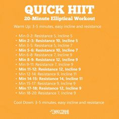 Quick HIIT: A 20-Minute Elliptical Workout-- loved this today!