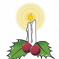 Illustration Of Candle lighted with two leaves and two grapes