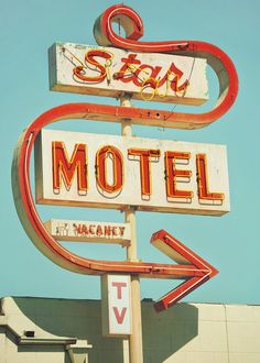 Midcentury neon sign for a motel in Lompoc, California by Gandolphoto.