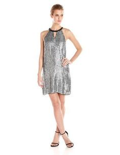 NEW $398 Parker Women's Sansa Sequin Sansa Halter Dress Silver Beaded Size 8
