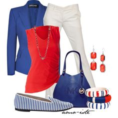 Red white and blue outfit.   Patriot.