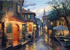 Old City Streets -DIY Diamond Painting – Colorelaxation Old Street, Thomas Kinkade, 5d Diamond Painting, Cross Paintings, Old City, City Streets, Old Town, Les Oeuvres, Beautiful Places