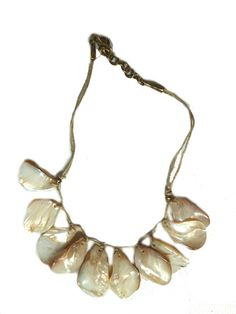 Necklace Mother of Pearl Large Drops on Waxed Linen - Natural from IMPERIO jp