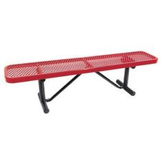 "Leisure Craft Standard Expanded Metal Park Bench Finish: Blue, Size: 96"" W x 15"" D"
