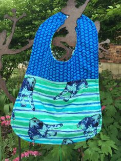 Toddler Bib Blue Green and IndigoQuilted by PeggyGaylerDesigns