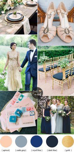 Apricot wedding colors with Gold + Cadet blue + Dark Blue and Royal Blue, apricot wedding shoes   fabmood.com