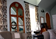 mirror for living room at hoop top house