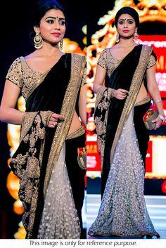 Bollywood Style Shriya Saran Velvet and Net Saree In Black Colour NC1057