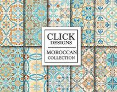 Marocain papier numérique : Documents de scrapbook mosaïque transparente retro « ZELLIGES RETRO » en turquoise et corail, tuiles de Lisbonne, arabesque ethnique