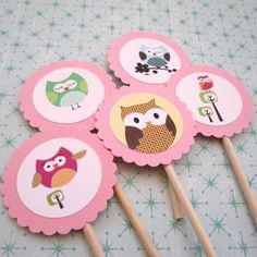baby owl for girl | owl cupcake toppers for boys girls birthday baby shower party owl ...