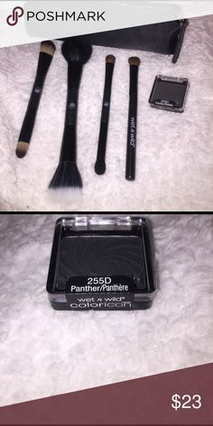 Sonia Kashuk double duty brush set & eye shadow. Brand new Sonia Kashuk double duty make up brush set minus the eyebrow brush. Includes wet n wild eye shadow brush & wet n wild eye shadow coloricon 255D panther. sonia kashuk Makeup Brushes & Tools