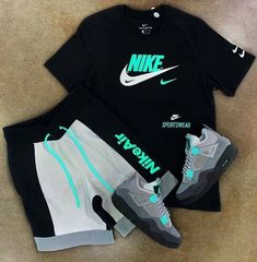Cute Nike Outfits, Summer Swag Outfits, Dope Outfits For Guys, Swag Outfits Men, Stylish Mens Outfits, Sporty Outfits, Neon Outfits, Hype Clothing, Mens Clothing Styles