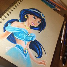 "376 Likes, 3 Comments - Ashlea Dyson ‍♀️ (@ashlea_peach) on Instagram: ""Need to get back to drawing. Kick up the bum is needed! I wanna be sassy like jasmine. @prismacolor…"" aladdin"