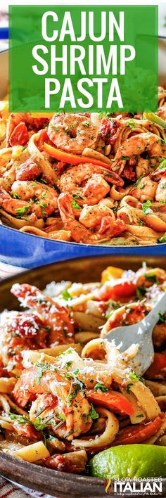 Cajun Shrimp Pasta is a quick and easy recipe to make, and it is bursting with juicy shrimp and crisp-tender veggies smothered in a Parmesan Cajun sauce! Cajun Recipes, Entree Recipes, Shrimp Recipes, Sauce Recipes, Fish Recipes, Pasta Recipes, Dinner Recipes, Cooking Recipes, Recipies