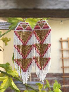 Triple heart chakra~Native American inspired beaded fringe earrings
