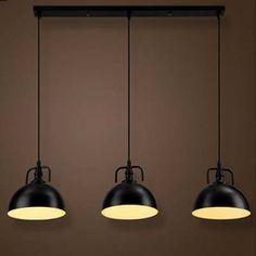 Loft Dome Shape 3 Light Multi Light Pendant in Black Finish