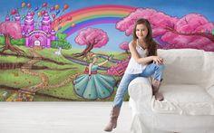 Princess and pink fairytale castle.  Girls wallpaper mural.  Princess theme