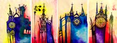 Aquarel-stylized cathedrals