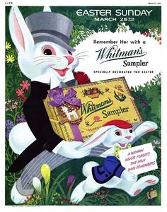 Dying for Chocolate: Easter Bunny: Whitman's Sampler Vintage Ads Retro Advertising, Retro Ads, Vintage Advertisements, Easter Art, Easter Candy, Easter Treats, Vintage Easter, Vintage Holiday, Whitman Sampler