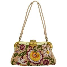 Preowned Valentino Garavani Vintage Embroidered Leather Clutch Purse ($672) ❤ liked on Polyvore featuring bags, handbags, clutches, multiple, leather clutches, white clutches, leather purse, genuine leather handbags and leather handbags