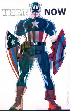 Marvel Comics: Captain America Then and Now by David Williams (superhero, super-soldier, Defender, Avenger, star-spangled hero) Marvel Comics, Arte Dc Comics, Marvel Heroes, Marvel Dc, Captain America Pictures, Captain America Art, Captain America Wallpaper, Comic Book Characters, Comic Book Heroes