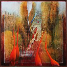 SEN O BOTANICKEJ ZÁHRADE, 100x100 cm, mixed media / DREAM ABOUT BOTANIC GARDEN Bratislava, Mix Media, Gardening, Gallery, House, Painting, Ideas, Art, Art Background