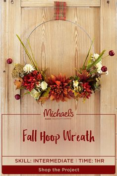 This fall, go beyond the traditional wreath with a DIY floral hoop! Whether it's your first MAKE of the season or the finishing touch to your décor, this Fall Hoop Wreath will add a welcoming warmth to your home. Find the complete how-to and more by visiting the Michaels project page.
