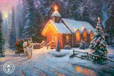 """Christmas Chapel I  """"O Come All Ye Faithful""""  By Thomas Kinkade"""