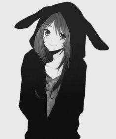 anime kawaii girl con auricular en blanco y negro - Buscar con Google