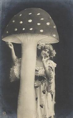 Vintage French Postcard Woman Mushroom ACEO by RabbitMoonCottage Vintage Abbildungen, Vintage Fairies, Vintage Beauty, Vintage Circus, Weird Vintage, Vintage Pictures, Old Pictures, Vintage Images, Old Photos