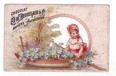 Chromo Publicitaire Ajouré - Chocolat De Beukelaer Anvers - Enfant bateau Fer