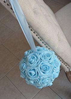 LIGHT BLUE Kissing Ball. Flower Ball. Baby Blue by KimeeKouture