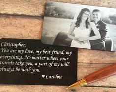 Nothing is more meaningful than a personalized gift that comes from the heart. Made from high quality anodized aluminum, this engraved wallet insert card is sure to bring sunshine and smiles to that special someone for years to come. PRODUCT DESCRIPTION: Anodized aluminum metal card Measurements: 3 1/4 x 2   THE ENGRAVING PROCESS: Your wallet card is laser engraved so the marking is permanent. It will never fade or wear off. TO LEAVE ENGRAVING INSTRUCTIONS: On the last page of checkout, ...