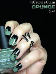 piCture pOlish Camo Grunge Nail Art
