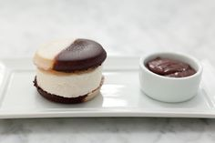 I want to make this, okay    Black and White Cookie Ice Cream Sandwich from Kutsher's in NY - kutsherstribeca.com