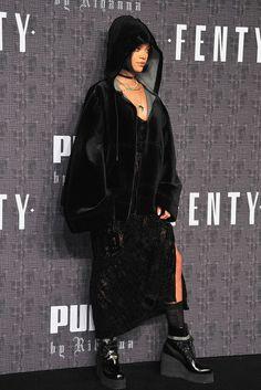 Rihanna wearing  Puma X Fenty SS16 Lace Dress, Puma x Fenty Fur Coat