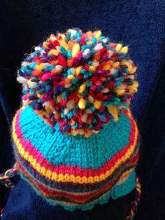 Rainbow Pippi Hat | free ear flap hat pattern from Alaska Knit Nat
