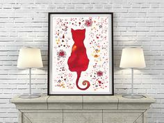 Red Cat Silhouette Watercolor Painting Large by DhanaVeselinaART