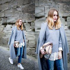 Coat, Sweater, Blouse, Bag, Sneakers, Jeans