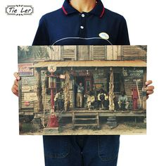 TIE LER Fashion United States Highway Store Retro Decorative Painting Photography Bar Classic Poster Wall Sticker 51.5x36cm
