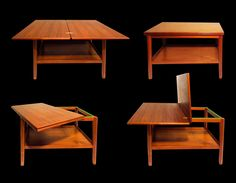 """Stamped PJ Denmark, Swivelling Pair of 2 Tier Danish Teak Expanding Coffee Side Tables. Dimensions 22"""" x 271/2 x 171/2, the table goes up to 35"""" width when it's stretched. (SOLD)"""