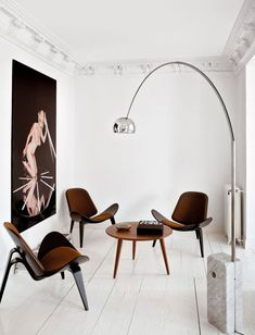 Arco Floor Lamp by Achille Castiglioni for FLOS Shell Chair by Hans Wegner