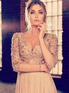 Sexy Prom Dresses V Neck Aline Floor Length Beautiful Beading Long Prom Dress JKL648