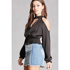 Forever21 Open-Shoulder Choker Blouse ($28) ❤ liked on Polyvore featuring tops, blouses, black, long sleeve v neck blouse, forever 21 blouses, sleeve blouse, cut out blouse and open shoulder tops