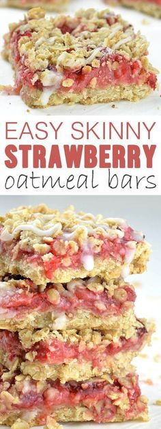 Easy Skinny Strawberry Oatmeal Bars is super simple, one-bowl and no-mixer recipe for healthy dessert, kid-friendly snack or breakfast on-the-go! Oatmeal Bars Healthy, Healthy Oatmeal Breakfast, Strawberry Oatmeal Muffins, No Bake Oatmeal Bars, Healthy Bars, Easy Healthy Desserts, Yummy Healthy Food, Healthy Filling Snacks, Healthy Baked Snacks