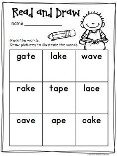 Long a Word Work Activities CVCe Words. Activities to practice and reinforce long vowel phonics skills. Vowel Activities, Word Work Activities, Reading Activities, Reading Resources, The Words, Long I Words, First Grade Phonics, First Grade Reading, Teaching Vowels