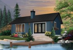 Discover the plan 2923 - Hideaway from the Drummond House Plans house collection. Simple small tiny cabin house plans with open concept, sleep easily 8 people. Total living area of 874 sqft. Cabin House Plans, Small House Plans, House Floor Plans, Micro House Plans, Build House, Cabin Homes, Cottage Homes, Tiny Homes, Maine Cottage