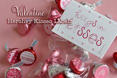 Hugs & kisses bag topper plus stickers for Hershey's kisses - free printables